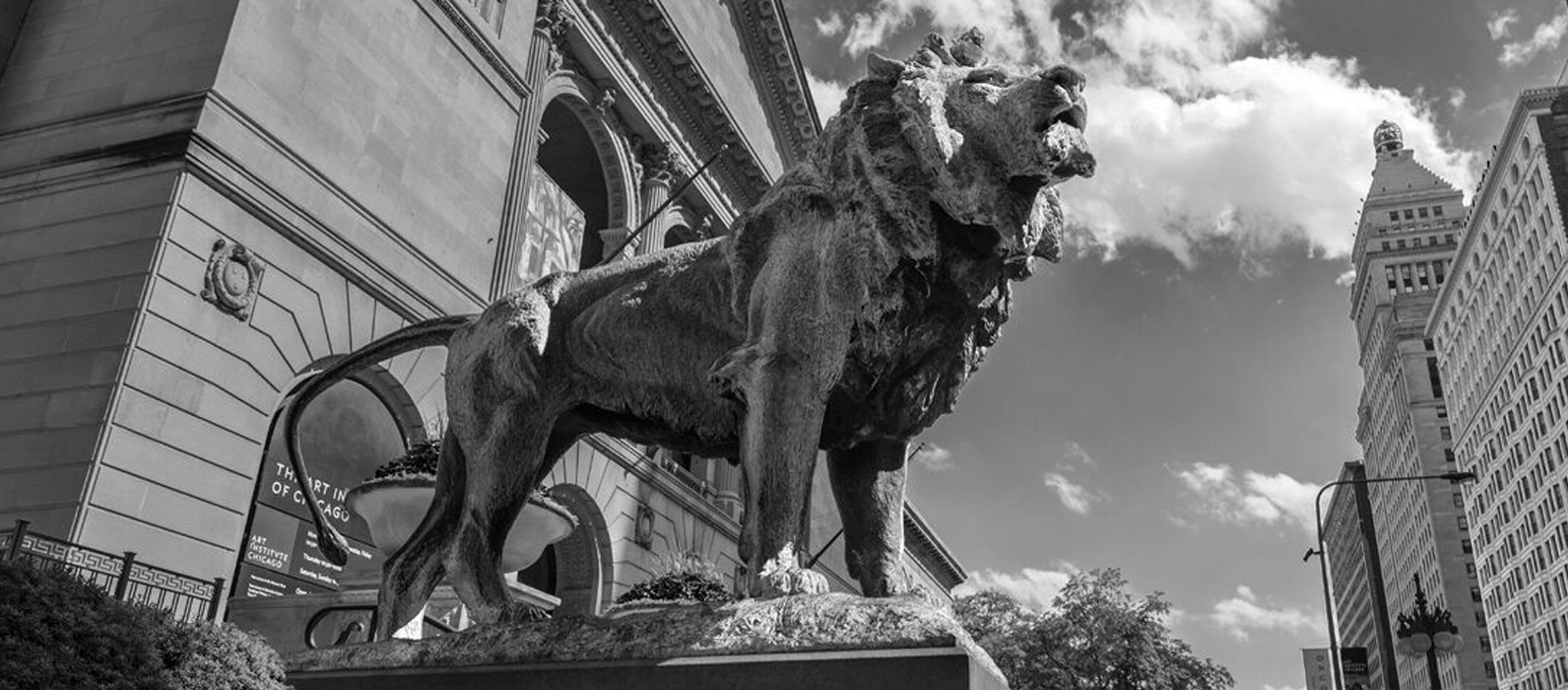 CH Art Institute Lion BW Website Web File (W. Thrall - 1288)